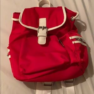 small red backpack